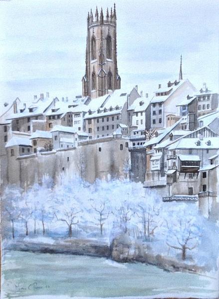 Vues de fribourg tableau et peinture par marie claude for Piscine fribourg